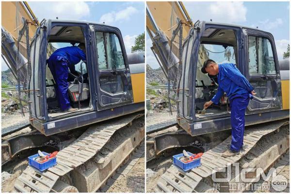 服务工程师给客户挖机清洗驾驶室