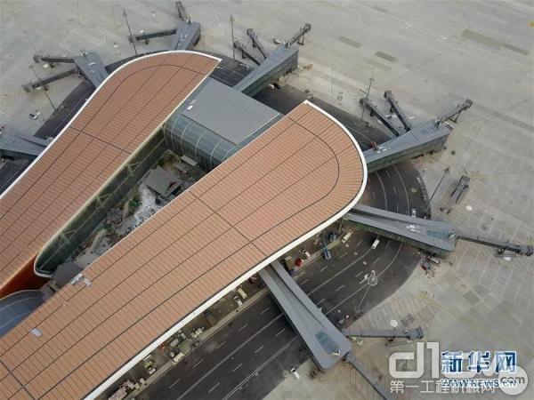 无人机拍摄的北京大兴国际机场航站楼局部