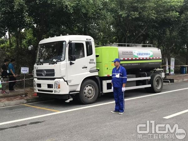 ▲比赛专用车辆中联环境ZBH5182GQXEQABEV型高压清洗车