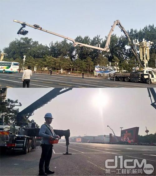 """▲中联重科泵车充当""""大摇臂摄像机"""""""
