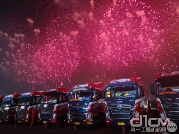 12台三一重型卡车是本次盛会的幕后英雄