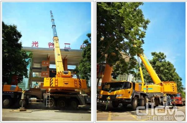 作为武汉市汉阳区唯一XCT110,全伸臂助力光谷二小,更换着广告牌。