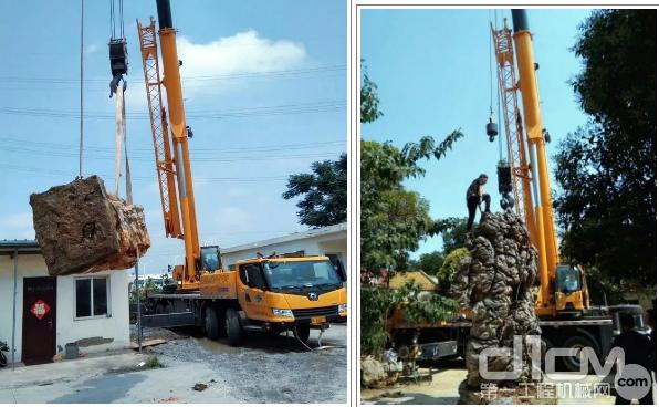 徐工网红产品QY40KC,帮助宿州市政搬运吊装景观石,其工作效率让客户大为赞赏