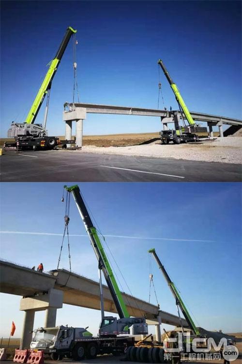 中联重科起重机正在对高速梁板架设施工