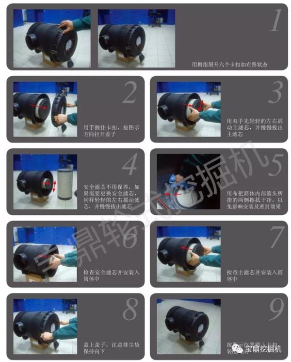 宝鼎BD95W-9A型号抓木机空气过滤器的维护保养方法