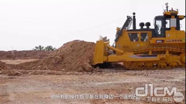 SD52-5E远程遥控推土机在江铜集团旗下铜矿工地施工