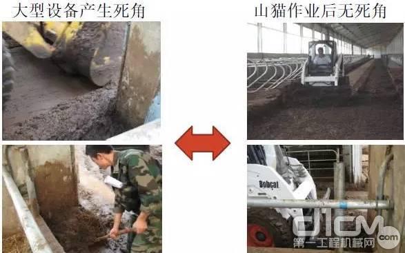 山猫滑移装载机既可以用铲斗清粪又可以用专业的清粪属具工作