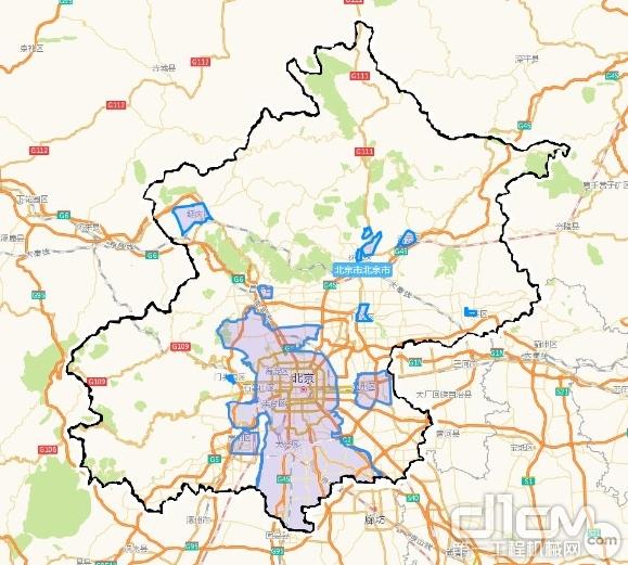 黑色边界内部为本市行政区域;蓝色边界内部(颜色加深部分)为低排放区域