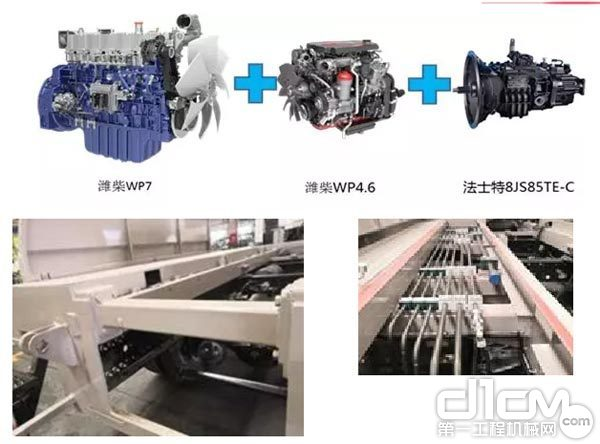 中联重科邦乐底盘车载泵采用潍柴发动机和法士特变速箱