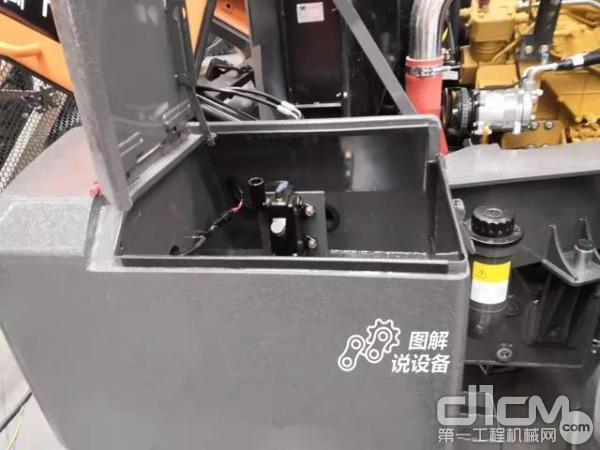 发动机罩整体后翻的控制系统在机器右后侧