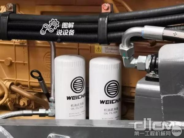 机油滤芯设置在机器右侧