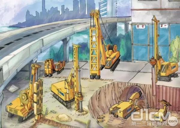 徐工旋挖钻机施工手绘