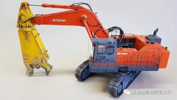 同为矿山挖掘机底盘的1:50日立建机EX1200破碎剪