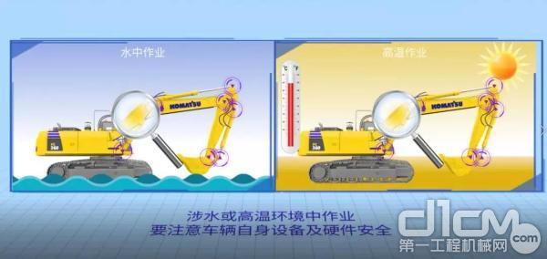 在涉水或高温环境中作业,要时刻注意设备及硬件安全