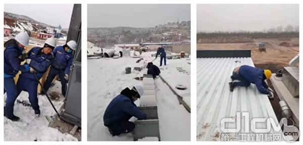 服务人员正在聚精会神的工作,全然不顾身体已趴在雪地里,以赤诚之心抗拒三九严寒!