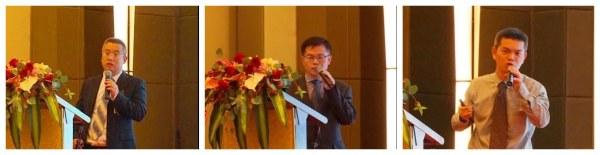 加藤中骏营业部部长狄爱民,制造部部长罗伟锋,服务配件部副部长黄开机作报告