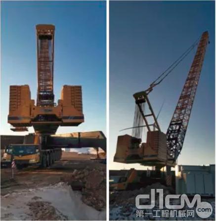 徐工XCL800轮式桁架臂起重机在冰冻的内蒙古大草原,转场安全便捷迅速。