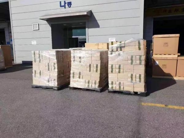 柳工采购的防疫物资运出韩国海关