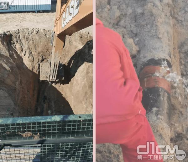 CX350C挖掘出作业平面,工作人员进行渗水管线的修理