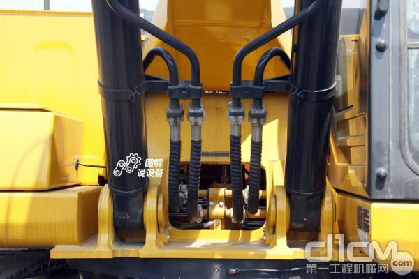 动臂进/回油管路采用内收型布局