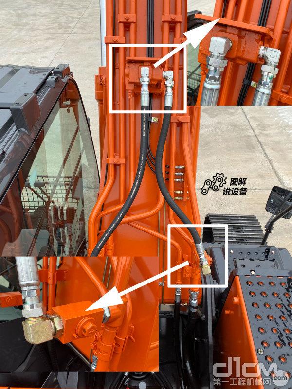 在大臂管路上设计了二次溢流阀和二次溢流开关阀