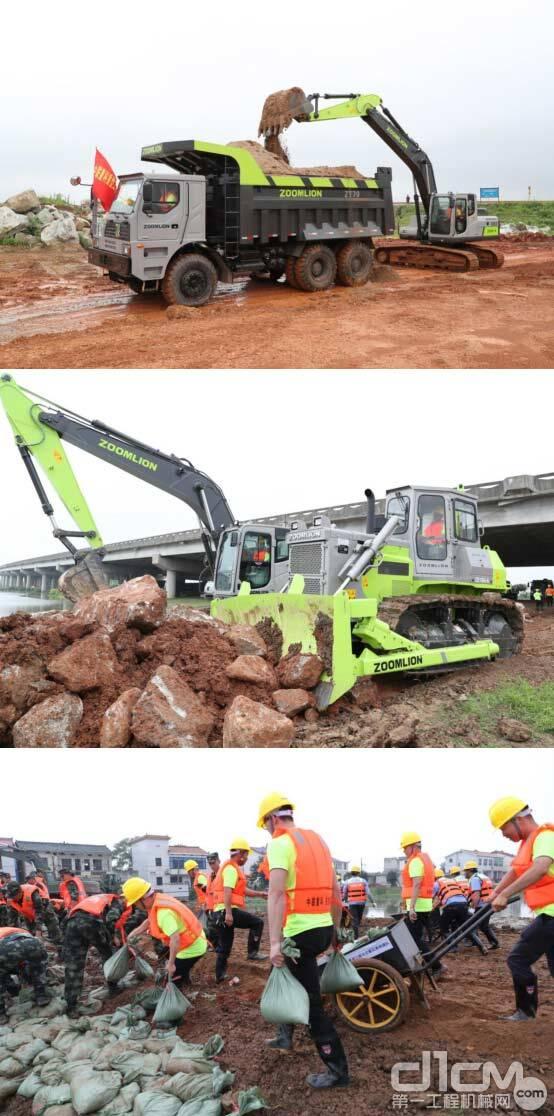 △中联重科重型工程机械应急救援队紧张有序地进行封堵决口