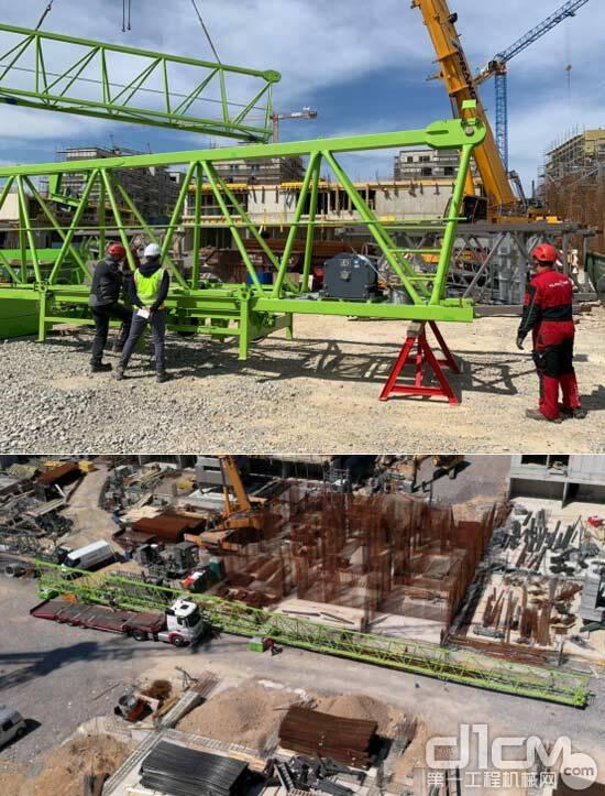 △在斯洛文尼亚某项目现场当地人员正在组装中联重科塔机
