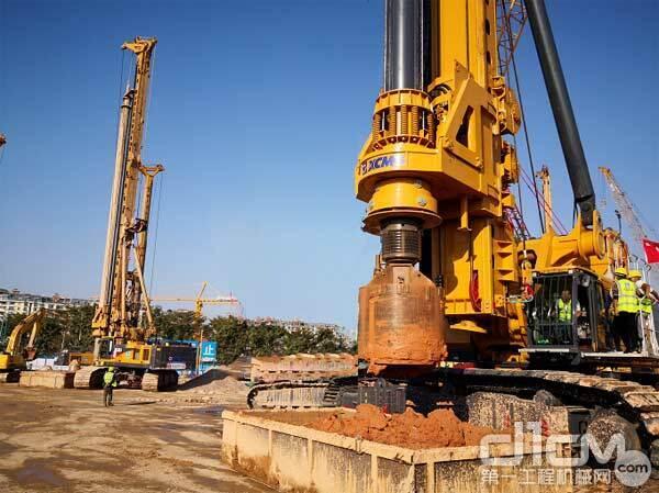 广州蓝钻全球最大吨位旋挖钻机徐工XR800E助力恒大深圳湾项目