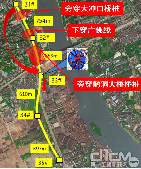 中铁山河的6280土压平衡盾构机施工路段