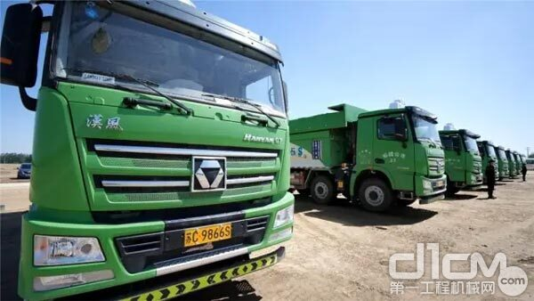 徐州方特乐园奠基仪式现场的汉风G7环保渣土车