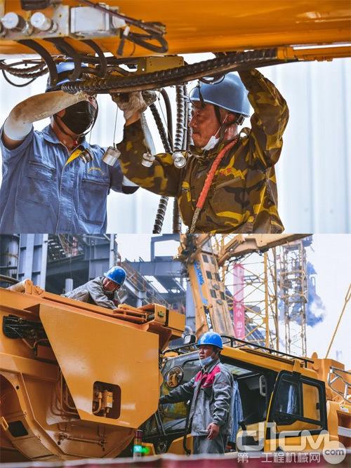 徐州重型的4位技术人员在全程在吊装现场配合施工方工作