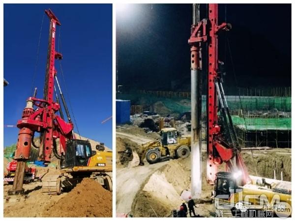 三一SR285RW10旋挖钻机施工作业