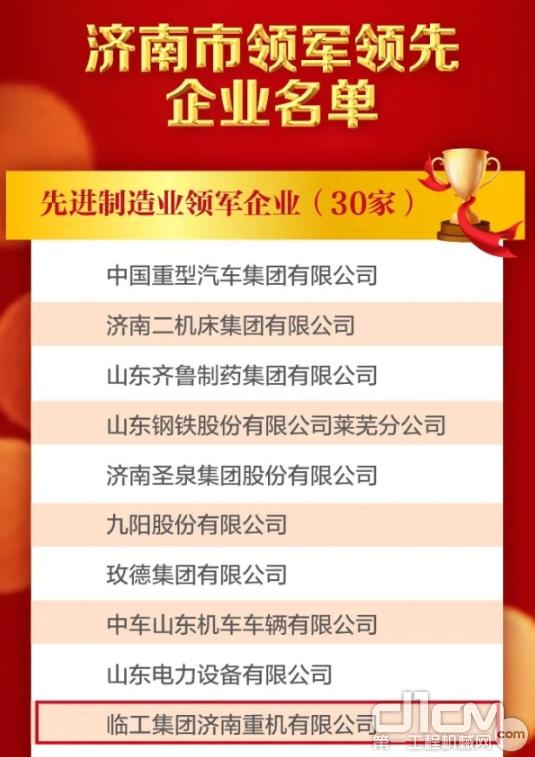 临工重机入列济南市先进制造业领军企业表彰名单!