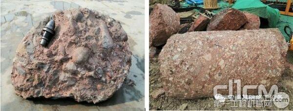 图为在宝峨BG 38钻出的坚硬砾岩岩芯