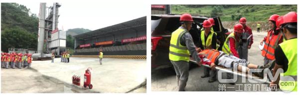 道路业务部与中铁十八局联合开展渝黔高速项目 消防安全应急演练