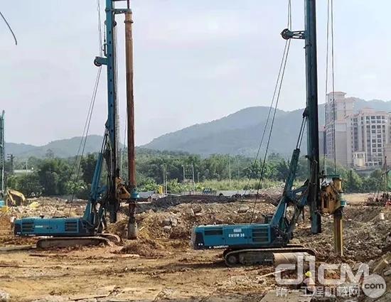 合盛创富的山河智能旋挖钻机在当地施工