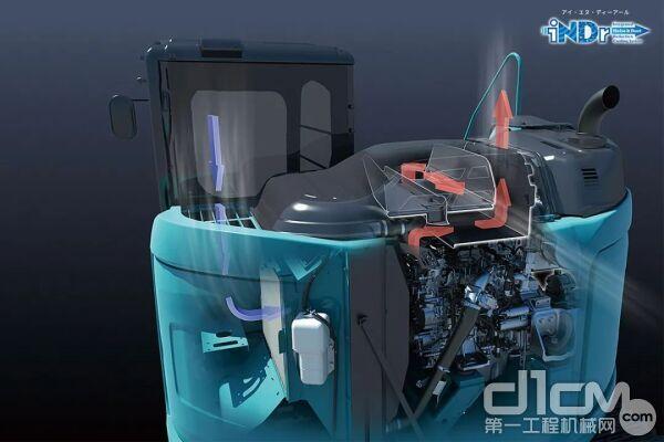 """▴神钢独创的引擎冷却系统""""iNDr"""",能够有效降噪,减少施工对周边居民的噪音影响。"""