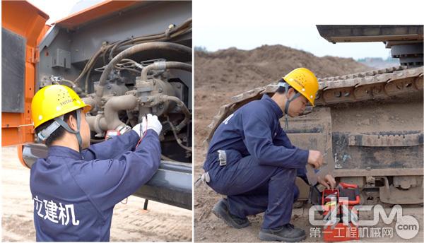 日立建机服务人员在为客户检查设备