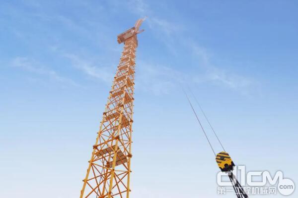 徐工XGL1800风电动臂塔机独立吊装高度突破170米
