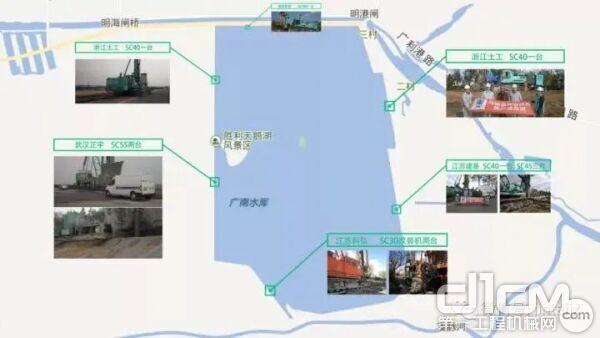 十一台SC系列液压铣削搅拌钻机在广南水库的施工分布图