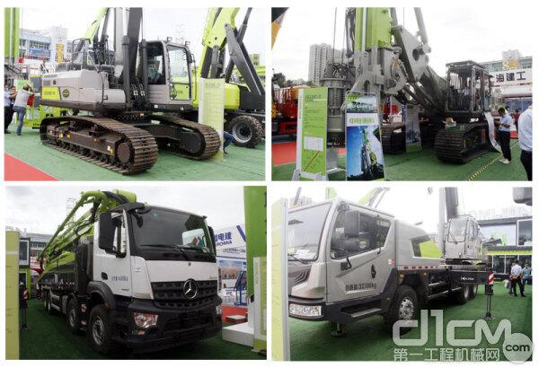 ZE205E-10挖掘机、ZR220C-3旋挖钻、ZTC250A汽车起重机、中联重科四桥63米奔驰国五底盘泵车