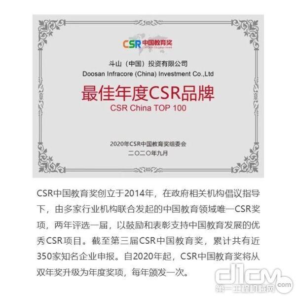 斗山再度荣获两项CSR教育奖