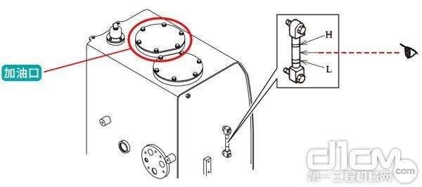 取下油箱上面的螺栓以及油口盖
