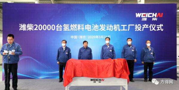 潍柴2万台产能氢燃料电池发动机工厂正式投产
