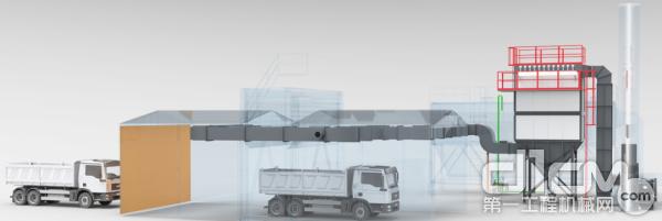 参展设备带有环保行车通道展示(部分),采用粉裹烟干式处理系统。实现无二次污染的真正环保