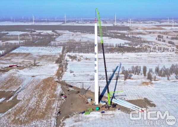 中联重科ZAT18000H753全地面起重机采用125m风机安装工况