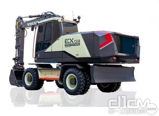 沃尔沃概念版电动轮式液压挖掘机EX03