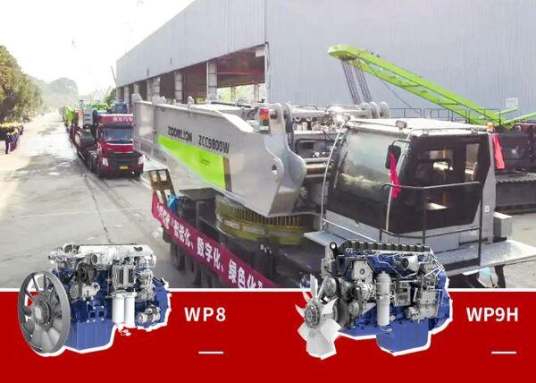 数十辆搭载WP8/WP9H发动机的起重机迎着朝阳发运客户