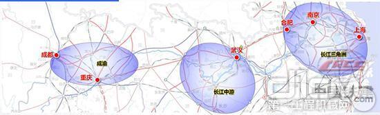 铁四院牵头完成的沿江高铁通道规划线路经由图。