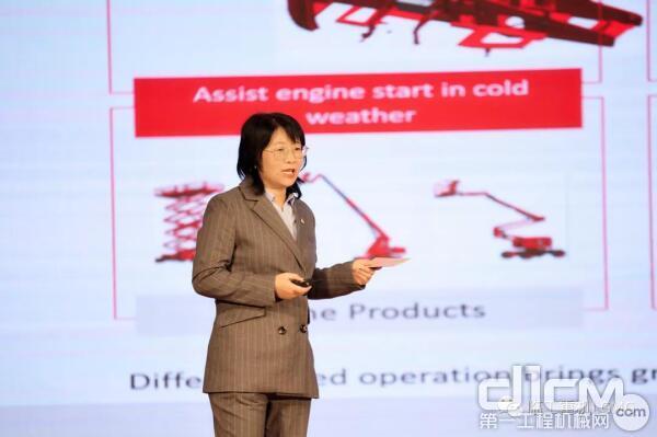 临工重机海外高机应用研究所所长王玉玲讲解2021年LGMG海外新产品规划及布局